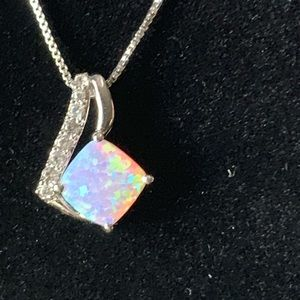 🆕 Pink Opal sterling silver necklace